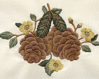 Pine Cones and Forest Flowers Embroidered Flour Sack Hand/Dish Towel