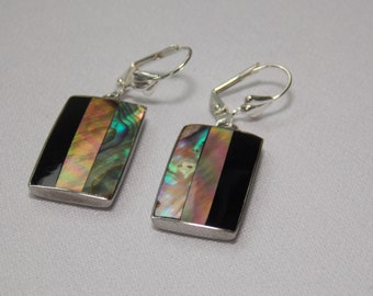 Vintage Inlaid Shell Earrings with Black, Abalone and Natural Colores Shell