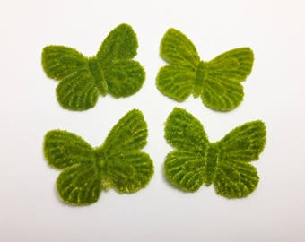 1 Butterfly in Green Velvet for scrapbooking, cardmaking, sewing, decoration individually