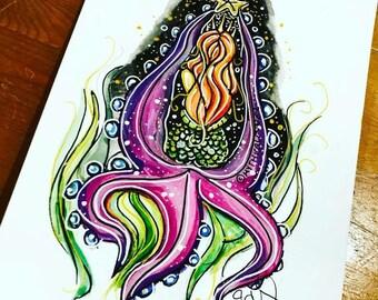 Wish Upon A Star Mythicalponez A5 watercolour illustration pop surrealism starfish Mermaid girl fairytale fantasy art original sealife ocean