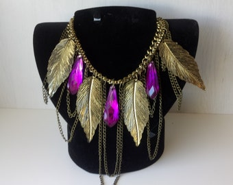 Necklace bronze feuillles and purple tassels