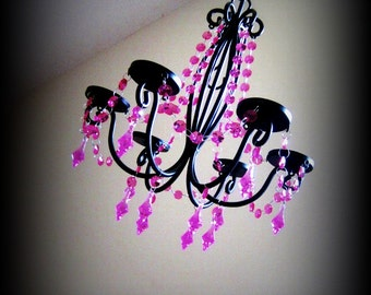 Sassy Girl Hot Pink N Black Six Candle Chandelier MADE TO ORDER