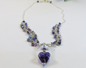 Silver Necklace, Beautiful Purple Handmade Glass Heart with Purple and Silver Swarovski Crystal and Sterling Silver, Luxury Necklace