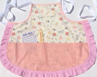 Childrens apron, CPSC Certified, childs apron, personalized apron, baking apron, Summer fun, kids apron,  girls gift, Birthday gift,