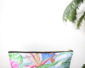 zipper pouch birds of paradise  tropical print