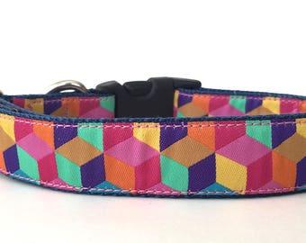 3D Squares Ribbon Dog Collar