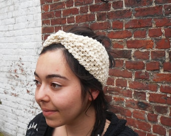 Beige headband, double Moss stitch