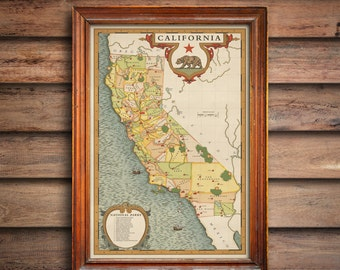 California National Parks Map, Vintage style California Map, California gift map, california counties map, golden state vintage style map