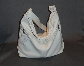 Leather Crossbody Purse - Cream color leather - Rachel Style - Made in the USA -