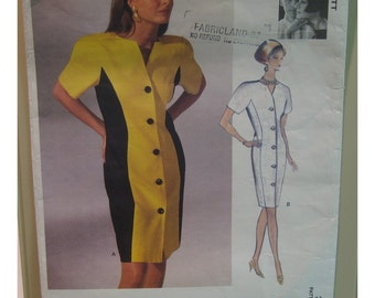 """90s Tom and Linda Platt Dress Pattern Lined Tapered Button Front, Color Block, Collarless, Vogue No. 2623 UNCUT Size 18 20 22 Bust 40-44"""""""
