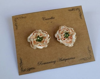 Peach Camellia Silver Earring Studs, Handcrafted Floral Jewelry
