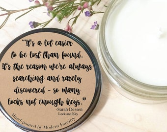 So Many Lock Not Enough Keys Book Quote Soy Candle by Sarah Dessen, Bibliophile, Book Candle, Book Quote, Mason Jar Candle