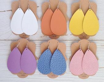Spring colored leather teardrop earrings, Leather earrings, Teardrop earrings, Spring Fashion, Statement earrings