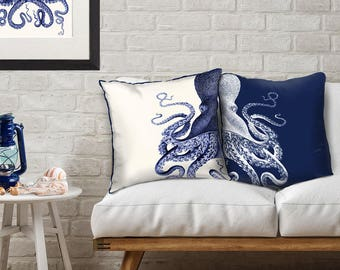 Set of 2 Octopus Pillow Cover - Blue and White Pillow Nautical Pillow Nautical Decor Octopus Decor Beach House Decor Coastal Living decor