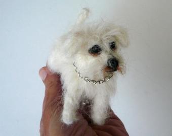 Needle felted Bichon Maltais /Needle Felted Dog /OOAK/ Custom Miniature Sculpture of your dog