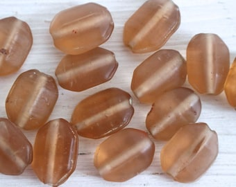 Vintage frosted antique pink glass beads