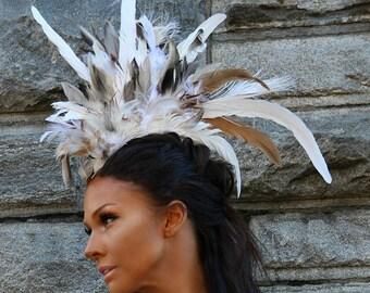Feather Mohawk, Feather Headdress, Burning Man Headpiece, Carnival Headdress, Burning Man Costumes, Feathered Headdress, Costume Accessories