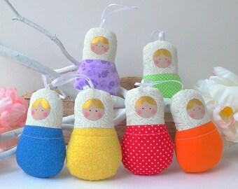 Babushka dolls, matryoshka dolls 6x set. Preschool, learning colors game.  Rainbow theme ornament. Cute set to play & learn. Nice gift