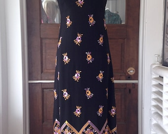 Mock Neck Gown with Floral Embroidery