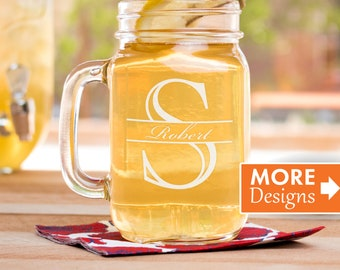 Etched Mason Jar Mug, Personalized Mason Jar, Farmhouse Decor, Wedding Glass, Monogrammed, Personalized Glassware, Centerpiece For Table