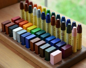 Wooden Beeswax Crayon Holder