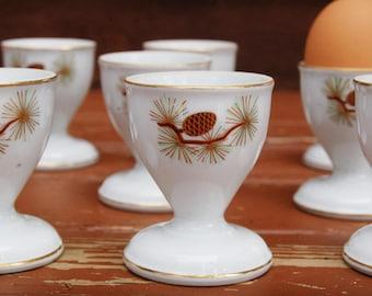 10 Pine Cone Egg Cups, Vintage Fukagawa Arita Pine Cone Egg Cups, Set of China Egg Cups, Japan China