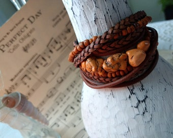 Lovely Boho Leather and Bead Wrap Bracelet, Multi Strands of Leather in shades of Natural tans and rust orange indonesian seed beads