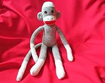 Sock Monkey Neville - Handmade - Stuffed Toy Animal Rockford Red Heel Socks
