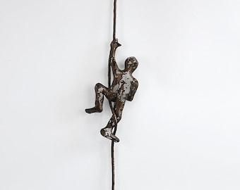 Metal wall art, Miniature metal sculpture, Climbing man on the rope, home decor, decorative art