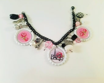 Black and White Paris Rose Bottlecap Charm Dangle Bracelet