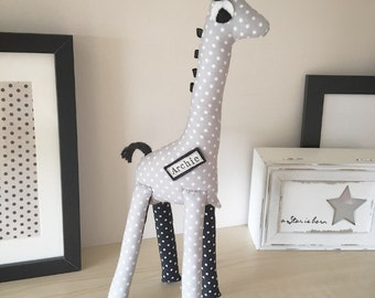 Giraffe Keepsake - Monochrome Nursery - Kids Room - Personalised Baby Keepsake Ornamental Giraffe - Shelf Sitter - Nursey Decor - Baby gift