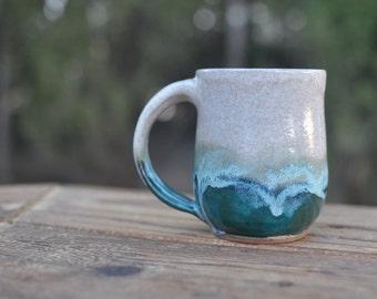 Seaside Mug - Handmade Pottery Mug - Turquoise Mug - Blue Mug - Ceramic Mug - 14 Ounce Mug