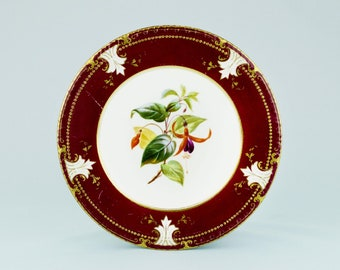 5 Painted Dessert Plates Dinner Flowers Red High Victorian Antique English 1860s Medium