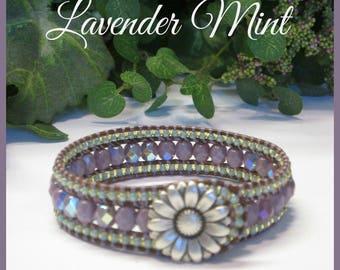 LAVENDER MINT Leather Wrap Bracelet, Czech Glass Bracelet, Beaded Wrap, 3 Row Cuff, Vintage Style, Boho, Hippie, Handmade, Ravengirl