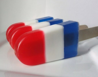 Patriotic Popsicle Soap - 4th of July Gift, kids soap, Novelty, Teen gift, soap favors, party favor,  Limited, fake food, shaped soap
