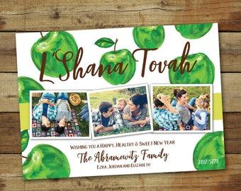Green apple l'shanah tovah photo card, Rosh Hashanah apples  card, Jewish new year card