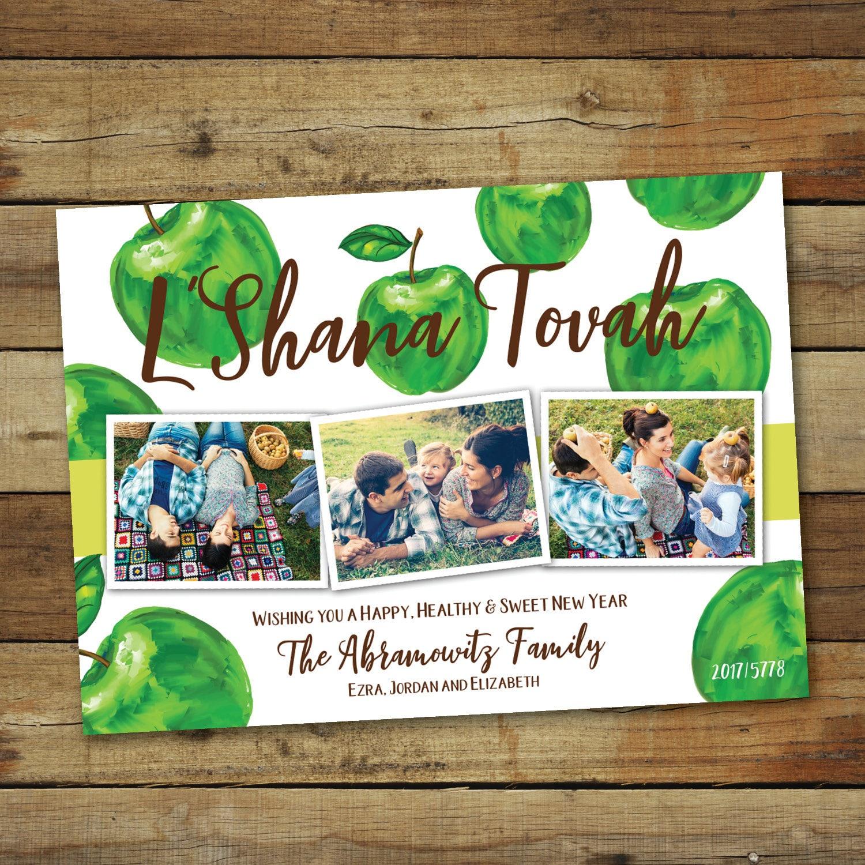 Green apple lshanah tovah photo card rosh hashanah zoom kristyandbryce Choice Image