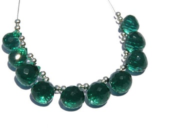 10 Pcs Beautiful Teal Green Quartz Faceted Onion Shaped Beads Faceted Onion Briolettes Size 10 - 8 MM