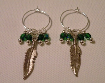 Leaf Beaded Hoop Earrings