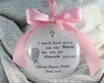 In Memory Infant Loss Christmas Ornament, Memorial, Remembrance, Personalized with Free Charm