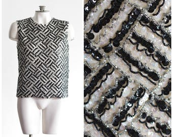 Mid century black and white beaded and sequined sleeveless knit top