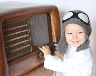 Aviator kids hat - Child knit hat - Pilot hat with goggles - Baby Flyer knit hat - Boys knit hat - Kids hat