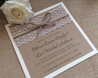 Lace wedding invitation selol ink lace wedding invitations etsy filmwisefo