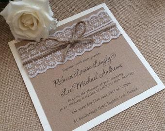 Vintagerustic lace wedding invitation with twine vintagerustic lace wedding invitation with twine rebecca range stopboris Images