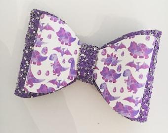 Purple Dinosaur Bow