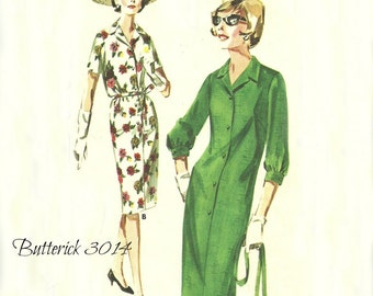 Shirt Waist Dress Pattern Bust 35 UNCUT Short or 3 Quarter Sleeve Butterick 3014 Size 14 1/2 Quick and Easy Pattern