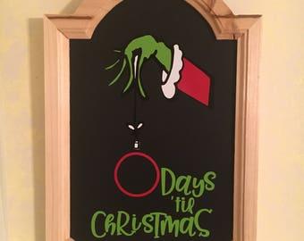 Grinch chalkboard countdown
