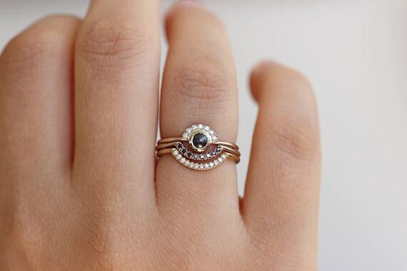 pearl wedding ring set boho ring set diamond pearl engagement ring boho pearl ring set black diamond wedding set engagement ring set - Pearl Wedding Ring Sets