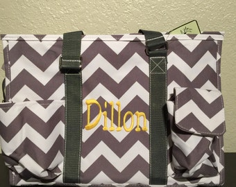 Chevron Print Medium Size Utility Tote Bag Gray and White