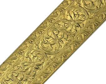 """Limited Supply Textured Solid Brass Sheet Cosmos Flower & Leaf Pattern Banding Strip with border 1-15/32""""x12"""" - Great for Rolling Mills"""
